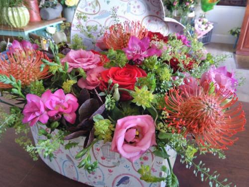 Beautiful Heart-Shaped Box and Flowers
